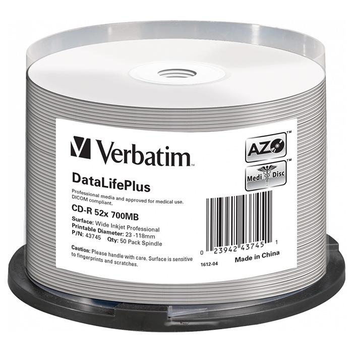 CD-R VERBATIM DataLifePlus 700MB 52x 50pcs/spindle (43745)