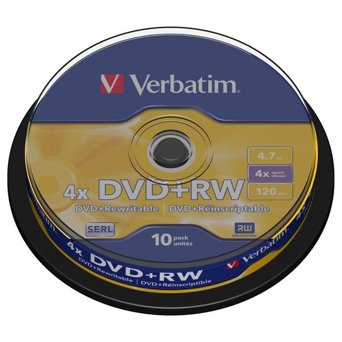 DVD+RW VERBATIM SERL 4.7GB 4x 10pcs/spindle (43488~EOL)