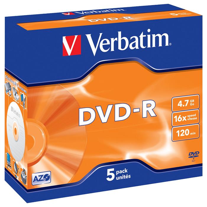 DVD-R VERBATIM AZO 4.7GB 16x 5pcs/jewel (43519)