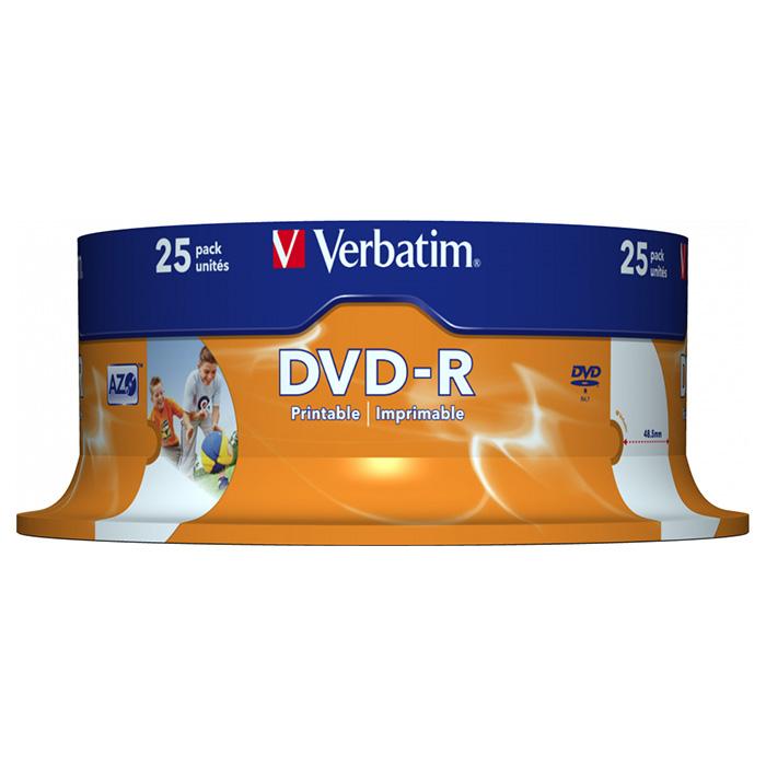 DVD-R VERBATIM AZO Printable 4.7GB 16x 25pcs/spindle (43538)