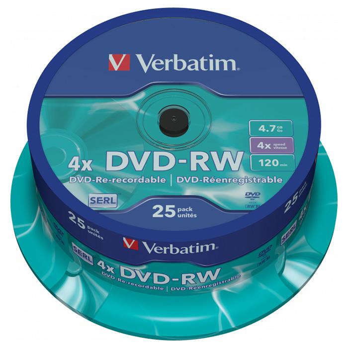 DVD-RW VERBATIM SERL 4.7GB 4x 25pcs/spindle (43639)