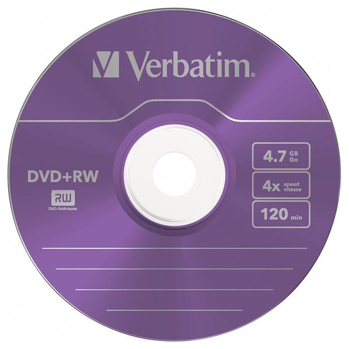 DVD+RW VERBATIM SERL Colour 4.7GB 4x 5pcs/slim (43297)