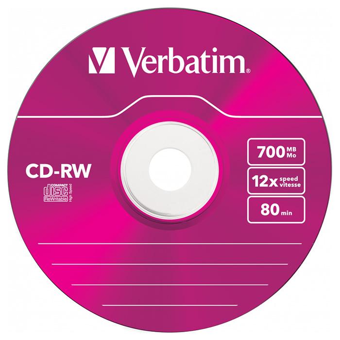 CD-RW VERBATIM SERL Hi-Speed Colour 700MB 8-12x 5pcs/slim (43167)