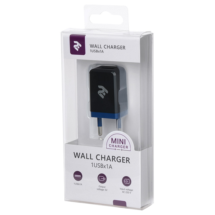 Зарядное устройство 2E Wall Charger 1USB x 1A Black (2E-WC1USB1A-B)