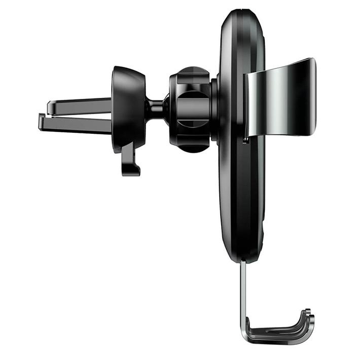 Автотримач для смартфона з бездротовою зарядкою BASEUS Metal Wireless Charger Gravity Car Mount Black (WXYL-B0A)