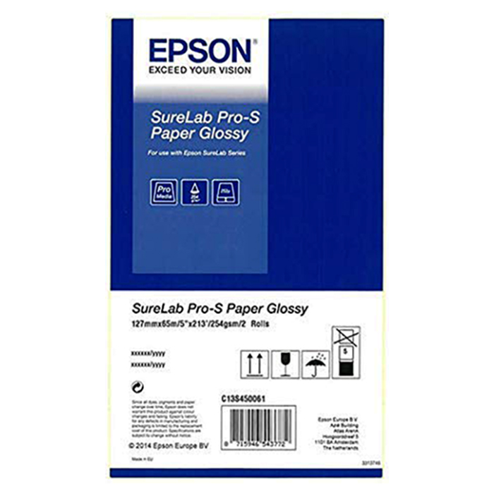 "Рулонний папір для плотерів EPSON SureLab Pro-S Paper Glossy (254 г/м²) 5"" 127mm x 65m 2-pack (C13S450061)"