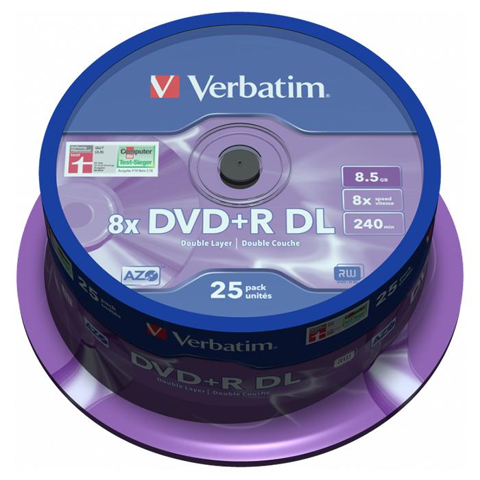DVD+R DL VERBATIM AZO 8.5GB 8x 25pcs/spindle (43757)