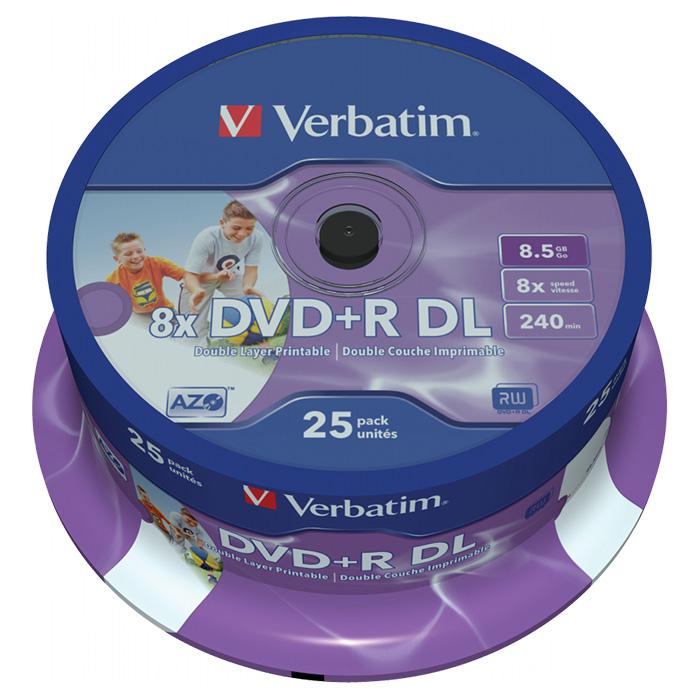 DVD+R DL VERBATIM AZO Printable 8.5GB 8x 25pcs/spindle (43667)