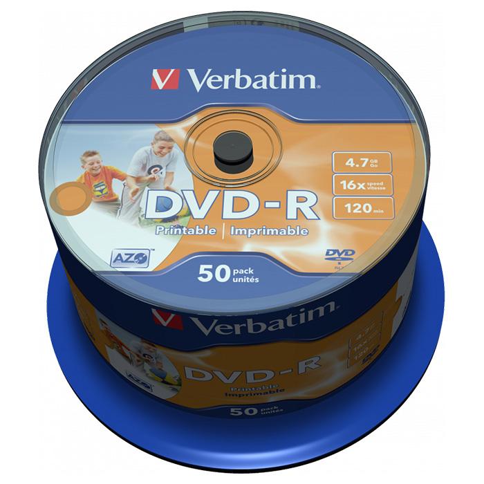 DVD-R VERBATIM AZO Printable 4.7GB 16x 50pcs/spindle (43533)