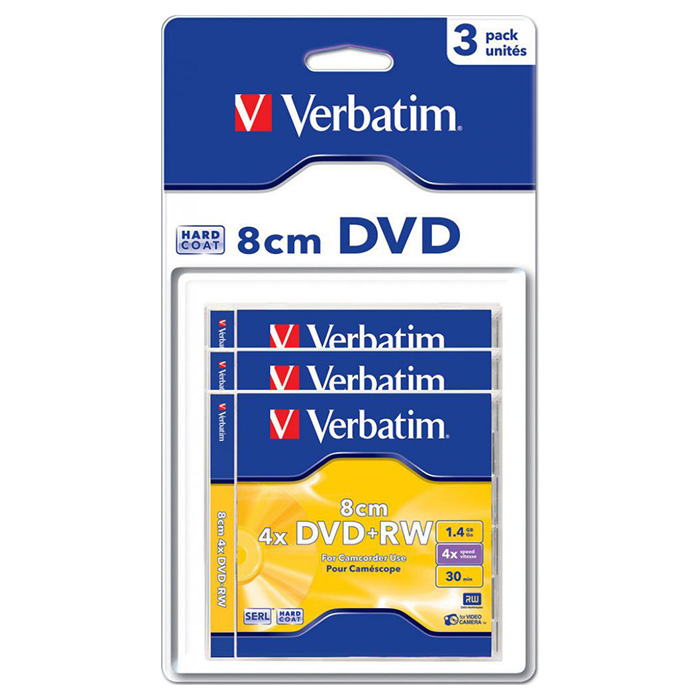 DVD+RW VERBATIM SERL for Camcorder 1.4GB 4x 3pcs/blister (43594)