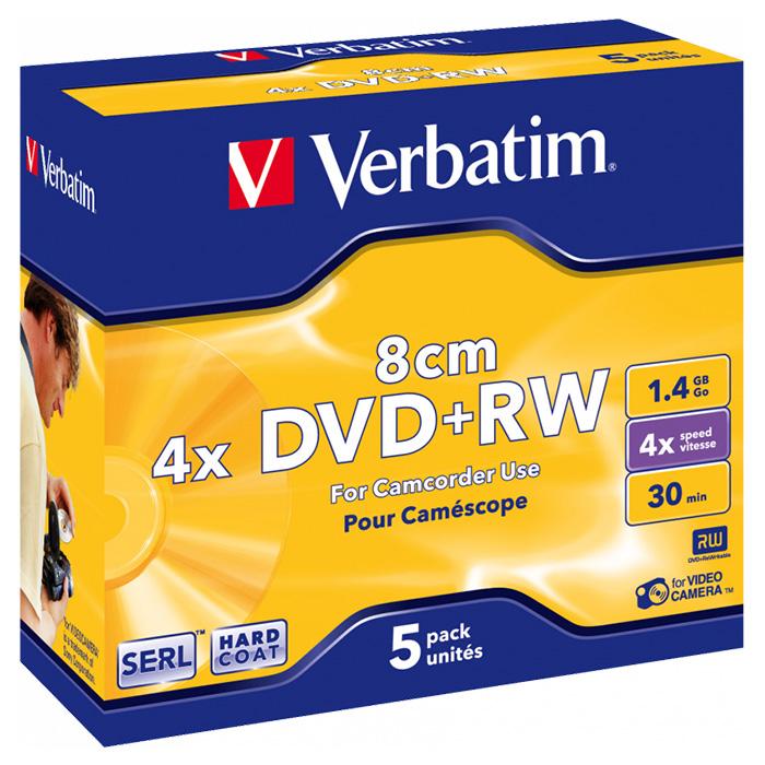 DVD+RW VERBATIM SERL for Camcorder 1.4GB 4x 5pcs/jewel (43565)