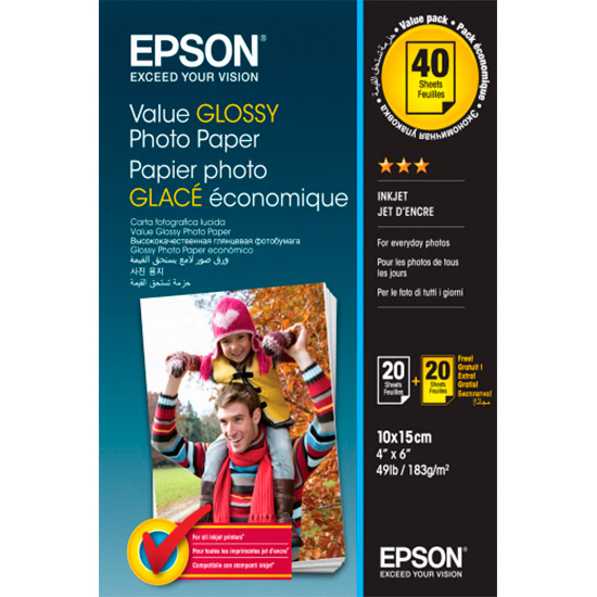Фотопапір EPSON Value Glossy 10x15см 183г/м² 40л (C13S400044)