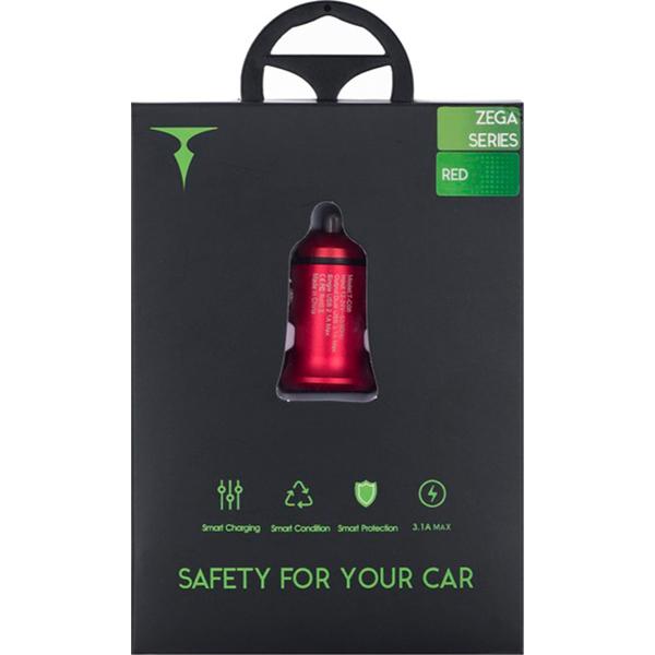Автомобильное зарядное устройство T-PHOX Zega Red