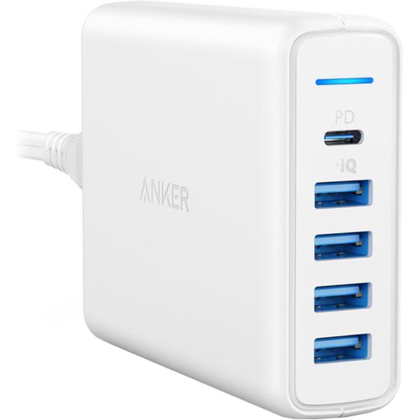 Зарядное устройство ANKER PowerPort Speed 5 PD + PowerIQ White (A2056L21)