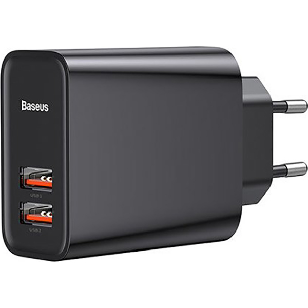 Зарядное устройство BASEUS Adaptor Speed Dual QC3.0 Black (CCFS-E01)