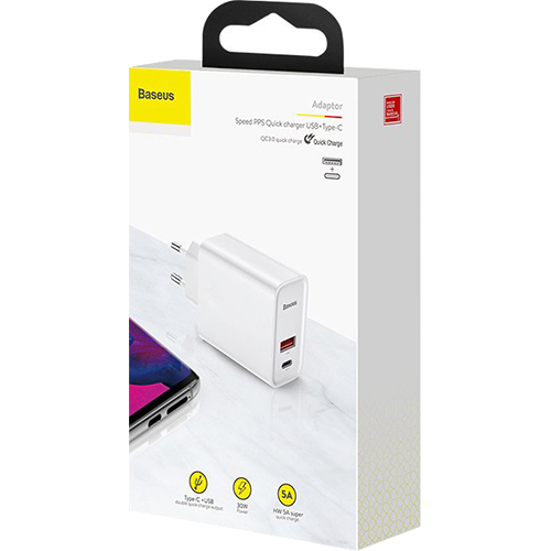 Зарядное устройство BASEUS Adaptor Speed PPS White (CCFS-C02)