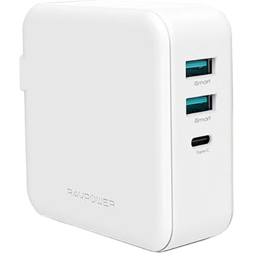 Зарядное устройство RAVPOWER 65W 3-Port USB PD Wall Charger White (RP-PC082WH)