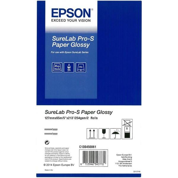 "Рулонний папір для плотерів EPSON SureLab Pro-S Paper Glossy (254 г/м²) 5"" 127mm x 65m 2-pack (C13S450061BP)"