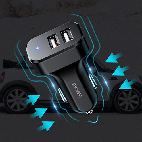 Автомобильное зарядное устройство USAMS CC087 C13 Black (CC87TC01)