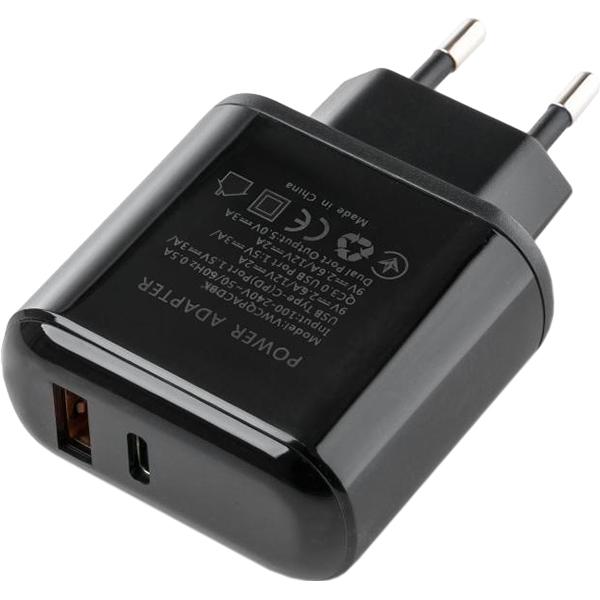 Зарядное устройство VINGA 2 Port QC3.0 + PD Display Wall Charger Black (VWCQPACDBK)