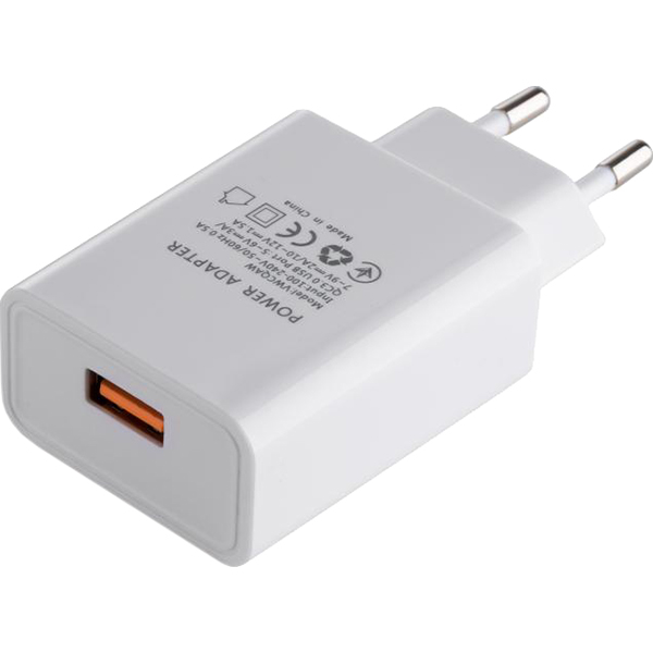 Зарядное устройство VINGA QC3.0 Quick Wall Charger 1xUSB 18W White (VWCQAW)