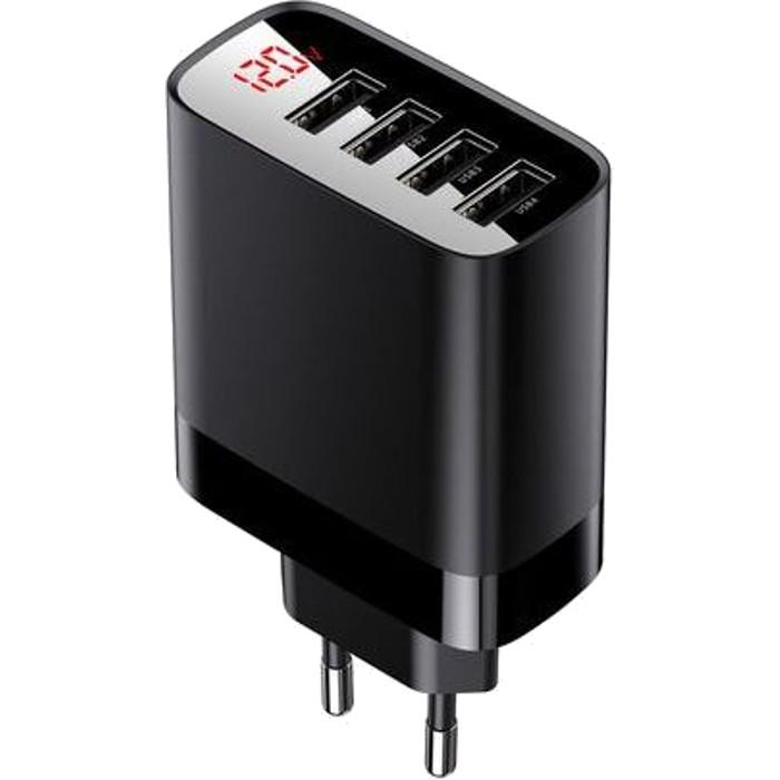 Зарядний пристрій BASEUS Mirror Lake Digital Display 4USB 30W EU Black (CCJMHB-B01)
