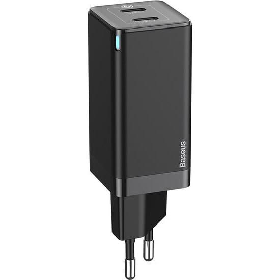 Зарядное устройство BASEUS GaN2 Q.Charger C+C 45W with Mini Cable Type-C toType-C 60W Black (CCGAN-M01)