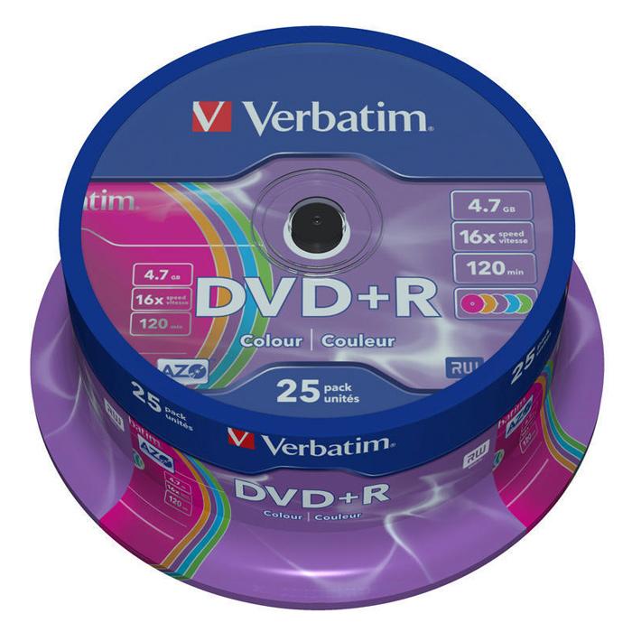 DVD+R VERBATIM AZO Colour 4.7GB 16x 25pcs/spindle (43733)