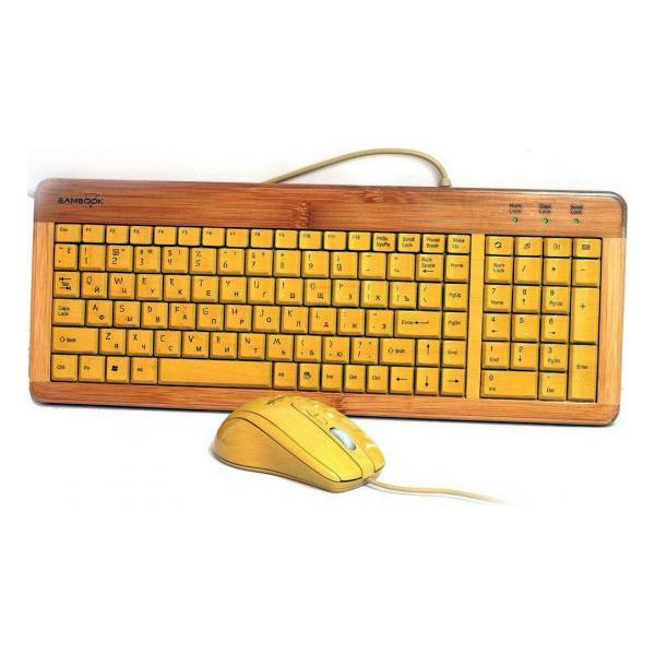 Комплект GEMBIRD KB-001 Bamboo USB Wood