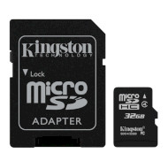 Карта памяти KINGSTON microSDHC 32GB Class 4 + SD-adapter (SDC4/32GB)