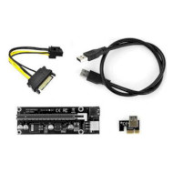 Райзер VINGA PCI-E x1 to 16x USB 3.0 SATA to 6Pin v.006C