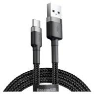 Кабель BASEUS Cafule USB for Type-C Gray/Black 2м (CATKLF-CG1)