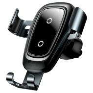 Автодержатель для смартфона с беспроводной зарядкой BASEUS Metal Wireless Charger Gravity Car Mount Black (WXYL-B0A)