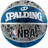 Мяч баскетбольный SPALDING NBA Graffiti Gray/Blue/Black (83176Z)