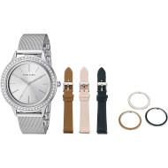 Часы ANNE KLEIN Women's Swarovski Crystal Accented with Interchangeable Straps and Bezels Silver (AK/3419SVST)
