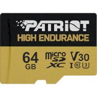 Карта памяти PATRIOT microSDXC EP 64GB UHS-I U3 V30 Class 10 + SD-adapter (PEF64GE31MCH)