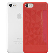 Чехол-накладка OZAKI O!coat Jelly+Pocket для iPhone 7 2-in-1 Red and Clear
