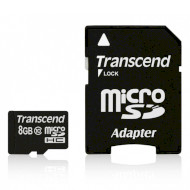 Карта памяти TRANSCEND microSDHC Premium 8GB UHS-I Class 10 + SD-adapter (TS8GUSDHC10)
