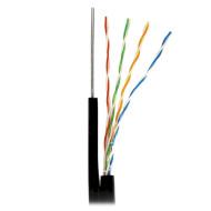 Кабель сетевой для наружной прокладки с тросом ATCOM UTP Cat.5e Premium 4x2x0.50 CU Black 305м (11952)