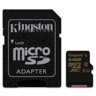 Карта памяти KINGSTON microSDXC Gold 64GB UHS-I U3 Class 10 + SD-adapter (SDCG/64GB)