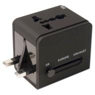 Сетевое зарядное устройство POWERPLANT Universal travel adapter with USB