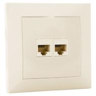 Розетка настенная для скрытой проводки SVEN Cat.5e 2xRJ-45 (SE-60036 Cream)