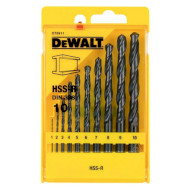 Набор свёрл по металлу DEWALT HSS-R 1-10мм 10шт (DT5911)