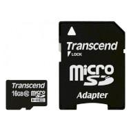 Карта памяти TRANSCEND microSDHC Premium 16GB Class 10 + SD-adapter (TS16GUSDHC10)