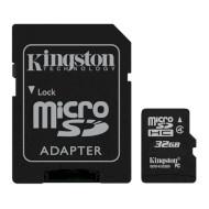Карта памяти KINGSTON microSDHC 32GB Class 4 + SD-adapter (SDC4/32GB)