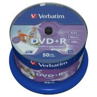 DVD+R VERBATIM Wide Inkjet Printable 4.7GB 16x 120min 50pcs/spindle (43512)