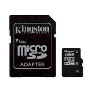 Карта памяти KINGSTON microSDHC 16GB Class 4 + SD-adapter (SDC4/16GB)