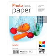Фотопапір COLORWAY Matte A4 190г/м² 50л (PM190050A4)