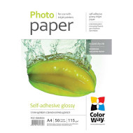 Фотопапір COLORWAY Self-Adhesive Glossy A4 115г/м² 50л (PGS1158050A4)