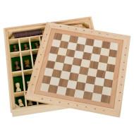 Игра настольная GOKI 3-в-1 Шахматы, шашки, мельница (56953G)